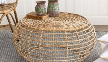 Farmhouse Rattan Coffee Table