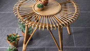 Farmhouse Rattan Side Table